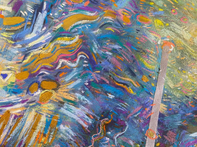 Guld- himmelbakgrund för expressionism Moderiktig måla textur stock illustrationer