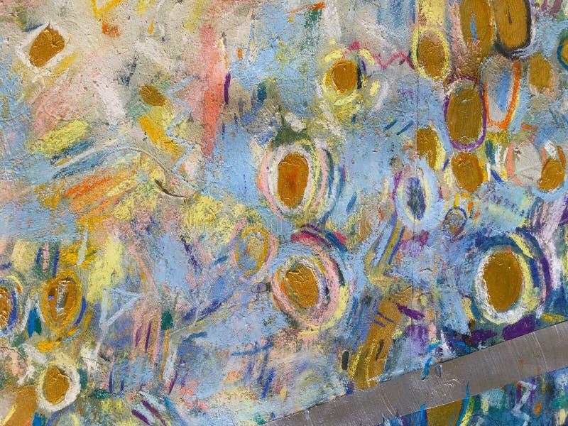 Guld- himmelbakgrund för expressionism Moderiktig måla textur royaltyfri illustrationer
