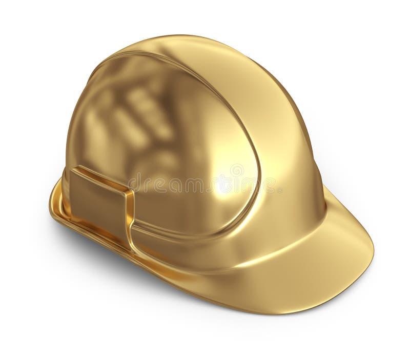 guld- hjälm symbol 3D på white royaltyfri illustrationer