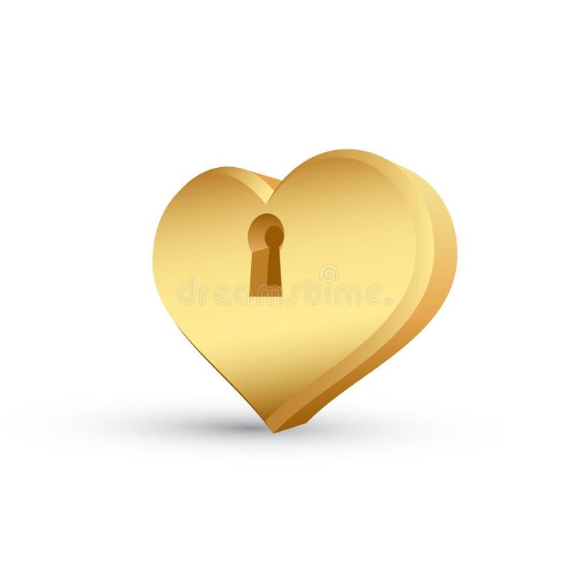 guld- hjärta stock illustrationer