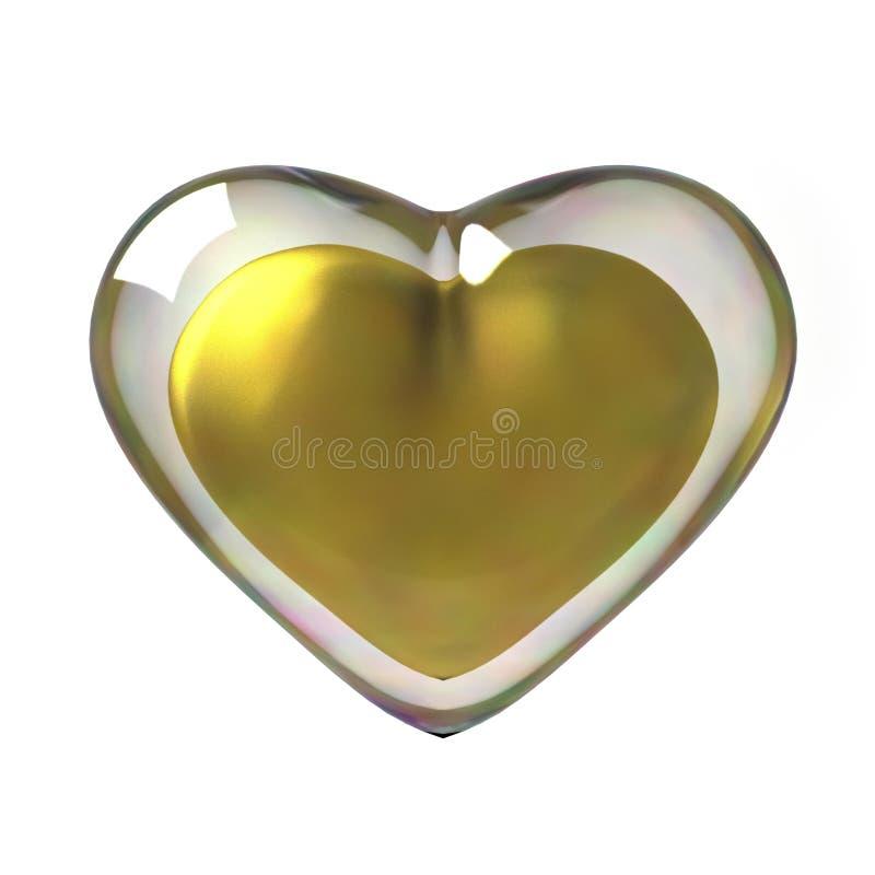guld- hjärta 3D vektor illustrationer