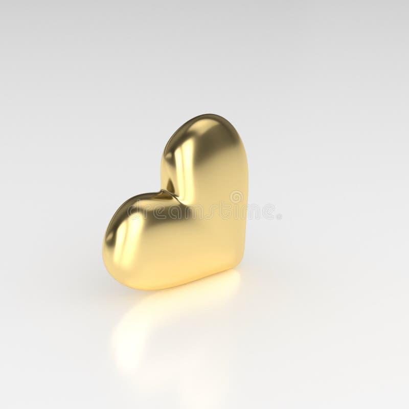 guld- hjärta 3d framför på vitbakgrund stock illustrationer