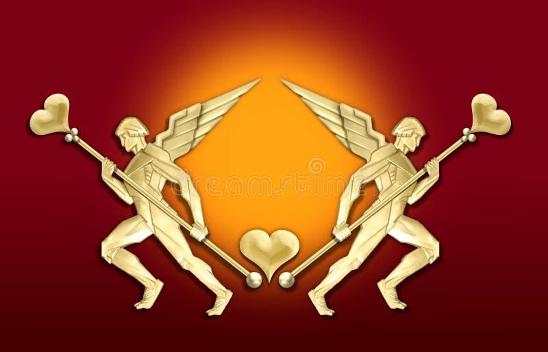guld- hjärta för ängelart décoram royaltyfri illustrationer