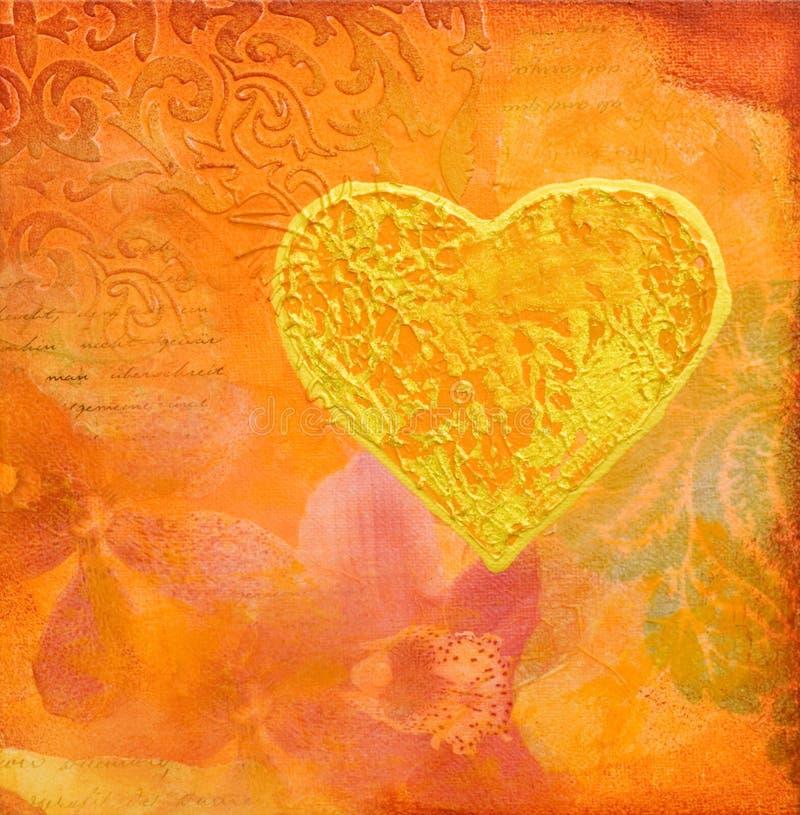 guld- hjärta för bakgrundscollage stock illustrationer