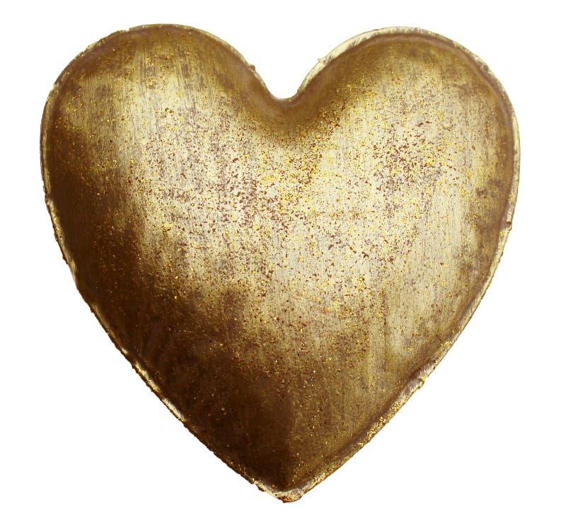 Guld- hjärta för metall arkivfoto