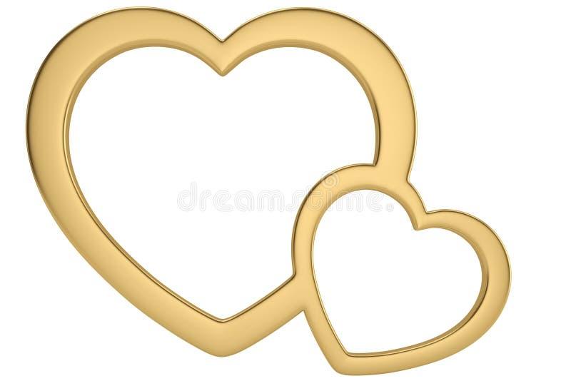 Guld- hjärta formade ramen som isolerades på den vita illustrationen för bakgrund 3D vektor illustrationer