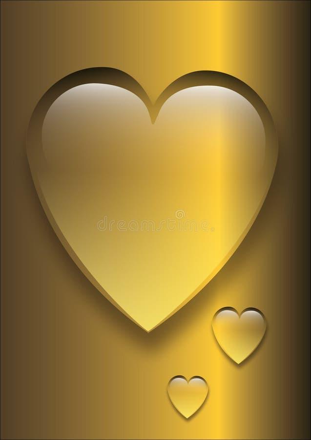 Guld- hjärta i form av en droppe av vatten stock illustrationer