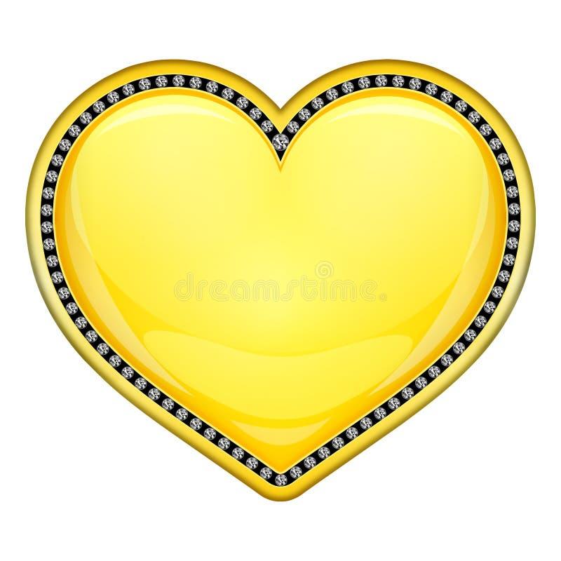Guld- hjärta med diamanter royaltyfri illustrationer