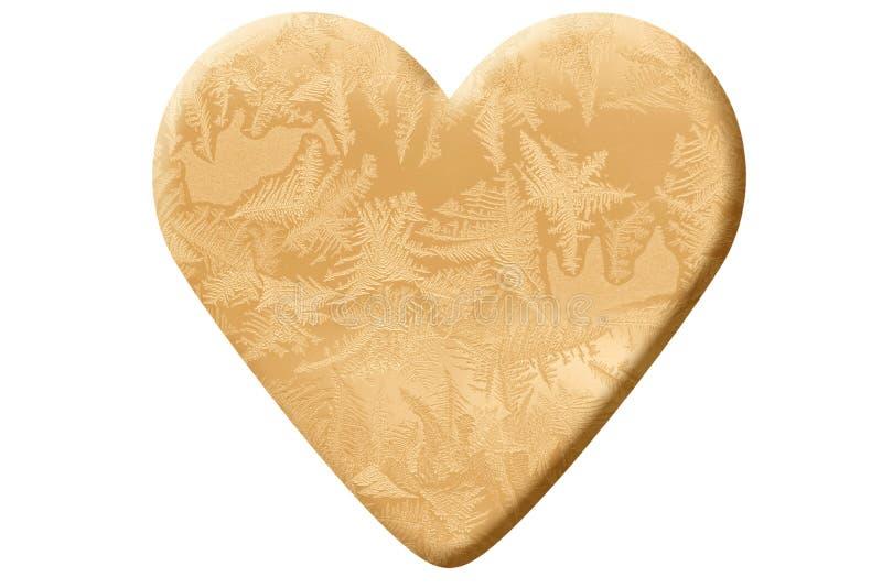 Guld- hjärta som göras av frostmodell royaltyfria bilder