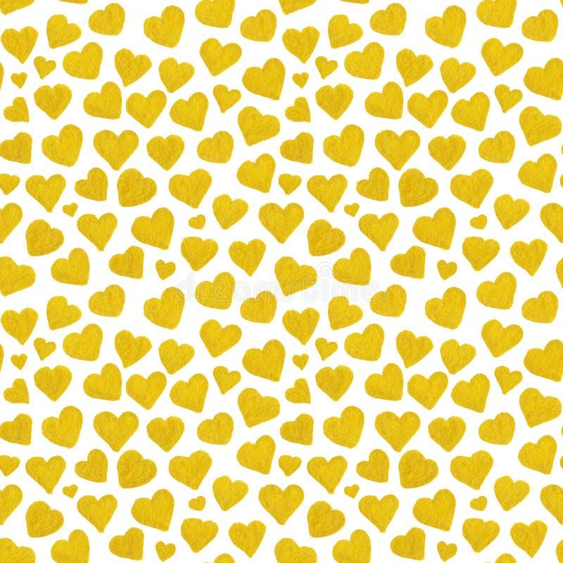 Guld- hjärtahelgon Valentine' för vattenfärg; sömlös modell för s-dag royaltyfri illustrationer