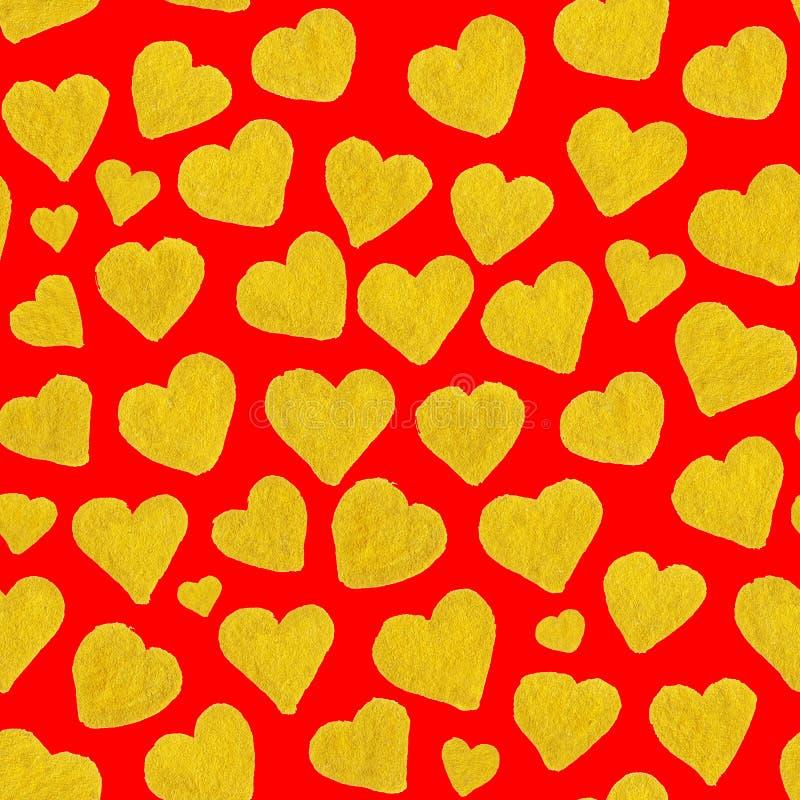 Guld- hjärtahelgon Valentine' för vattenfärg; sömlös modell för s-dag stock illustrationer