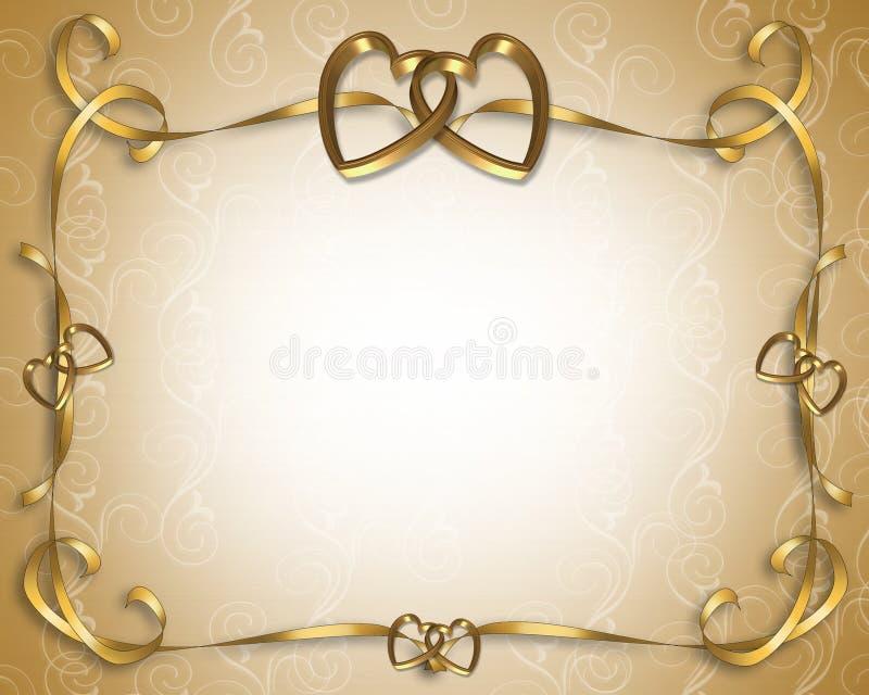 guld- hjärtainbjudanbröllop stock illustrationer