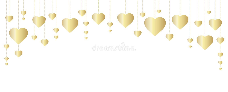 Guld- hjärtaram, gräns Utmärkt för garnering av festar valentin- och moderdagkort som gifta sig inbjudningar, affischer och rekla royaltyfri illustrationer