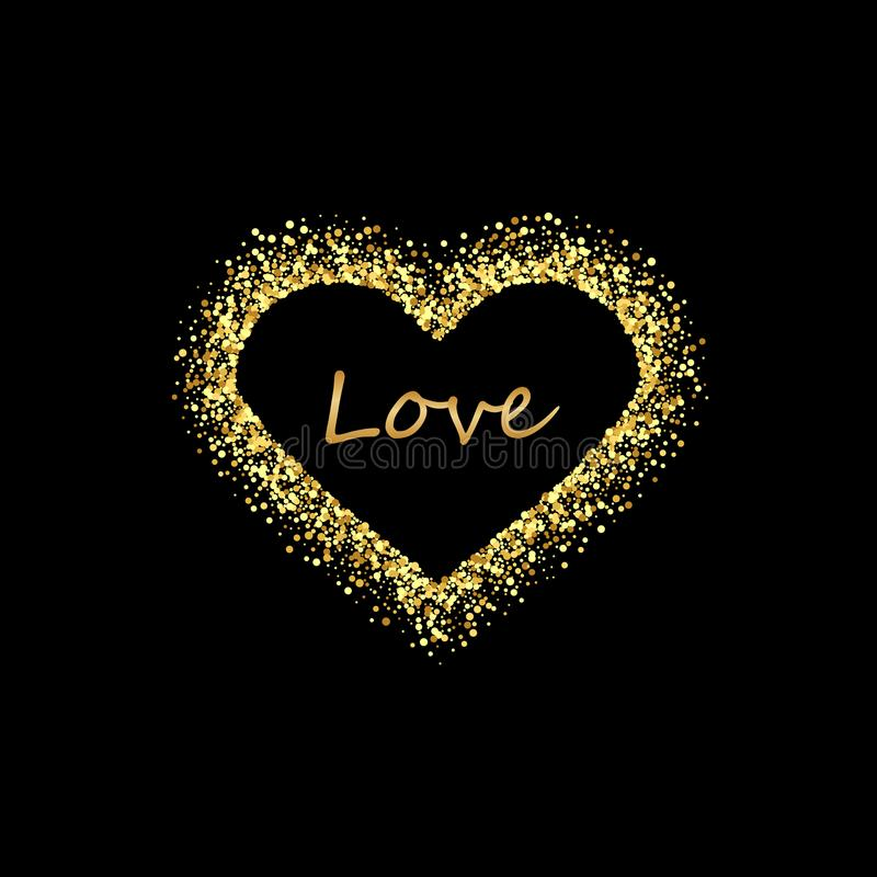 Guld- hjärtaram med tomt utrymme för din text Guld- valentindagram som göras av ojämna fläckar eller prickar av olikt vektor illustrationer