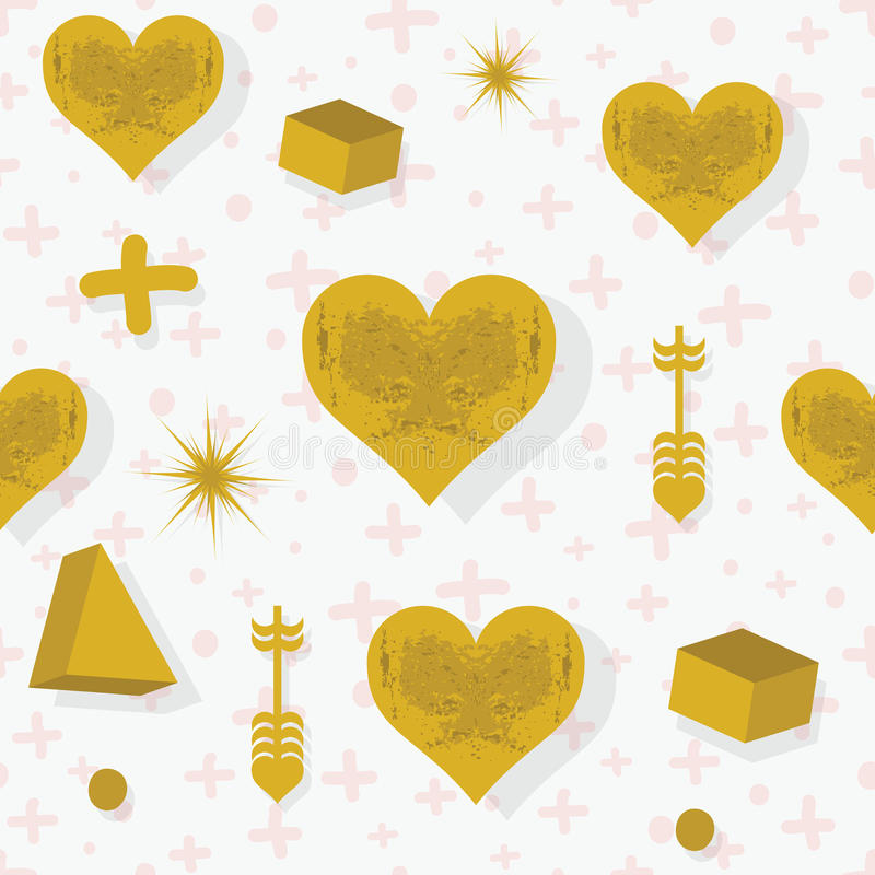Guld- hjärtor för abstrakt textur och sömlös modell för symboler stock illustrationer