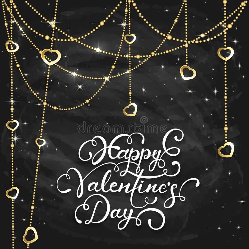Guld- hjärtor och valentin som märker på svart svart tavlabackg vektor illustrationer