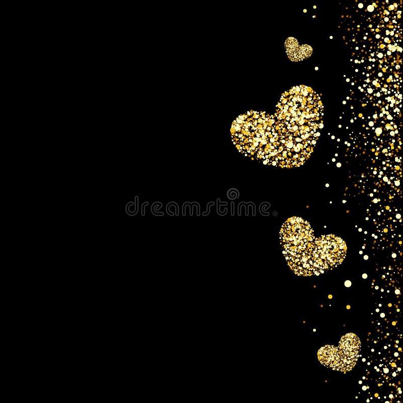 Guld- hjärtor på en svart bakgrund royaltyfria foton
