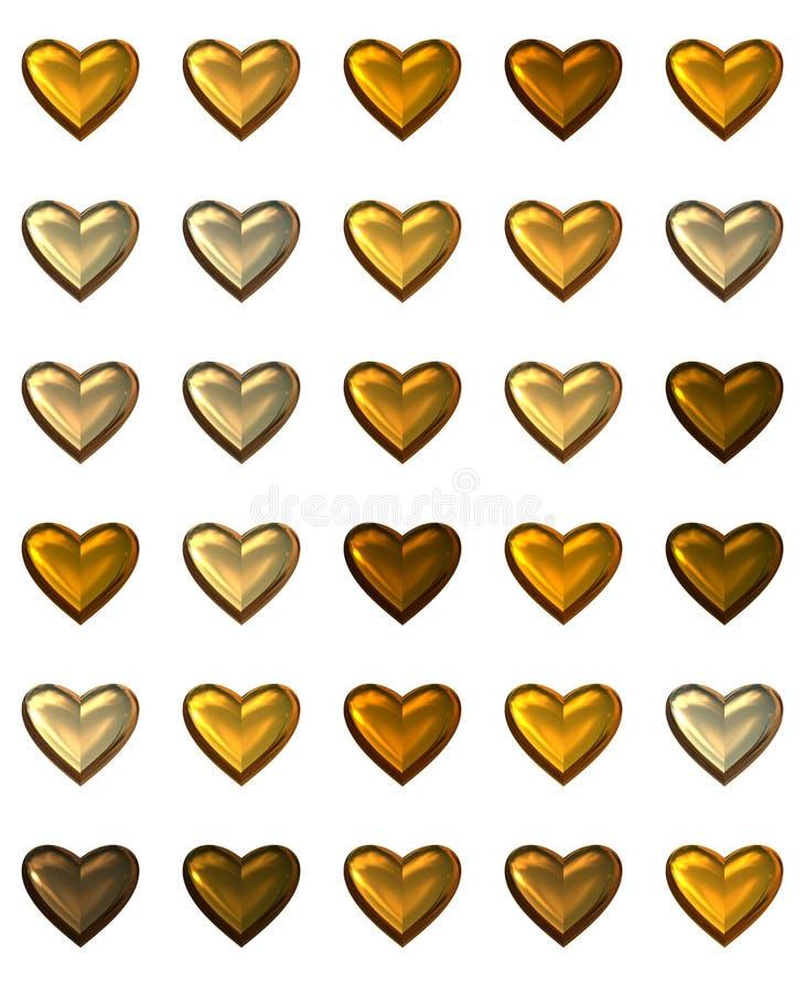 Guld- hjärtor som isoleras på vit. vektor illustrationer