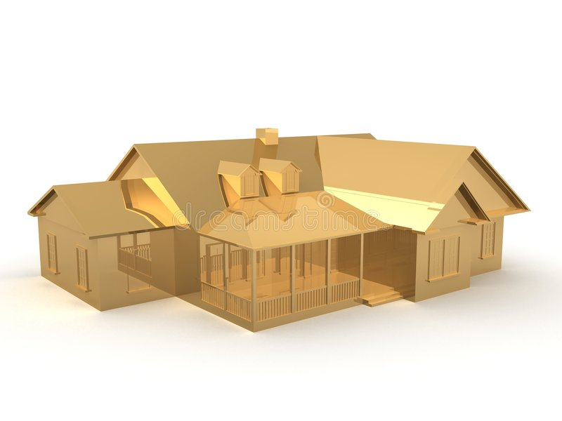 guld- hus royaltyfri illustrationer