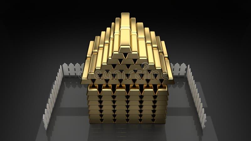 Guld- hushus som byggs av guld- stänger, mörk bakgrund som isoleras stock illustrationer