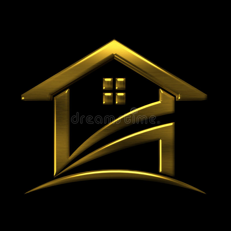 Guld- huslogo storgubbedesignbeståndsdel royaltyfri illustrationer