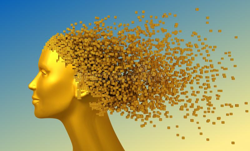 Guld- huvud av kvinnan och PIXEL 3D som hår på blå bakgrund vektor illustrationer