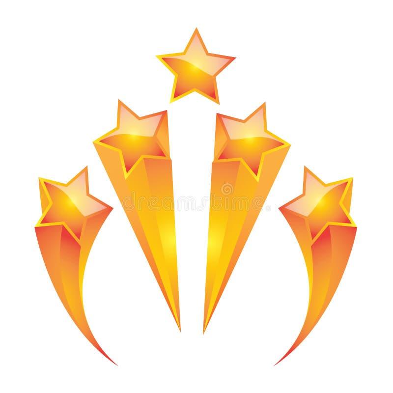 Guld- illustratör för stjärnauppsättningvektor stock illustrationer
