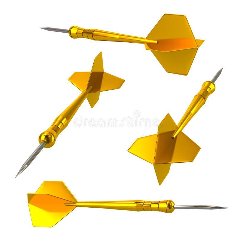 Guld- illustration för pilpilar 3d vektor illustrationer