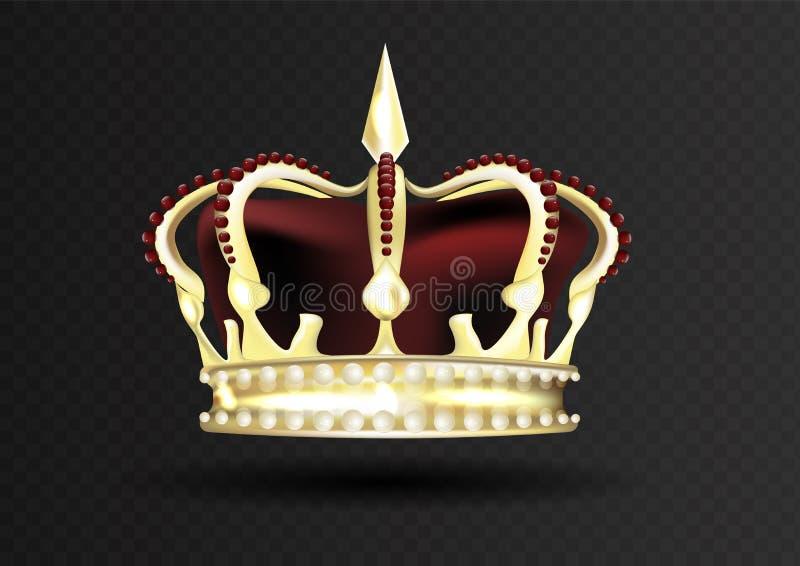 Guld- imperialistisk krona med den röda mitren encrusted med röda ädelstenar stock illustrationer