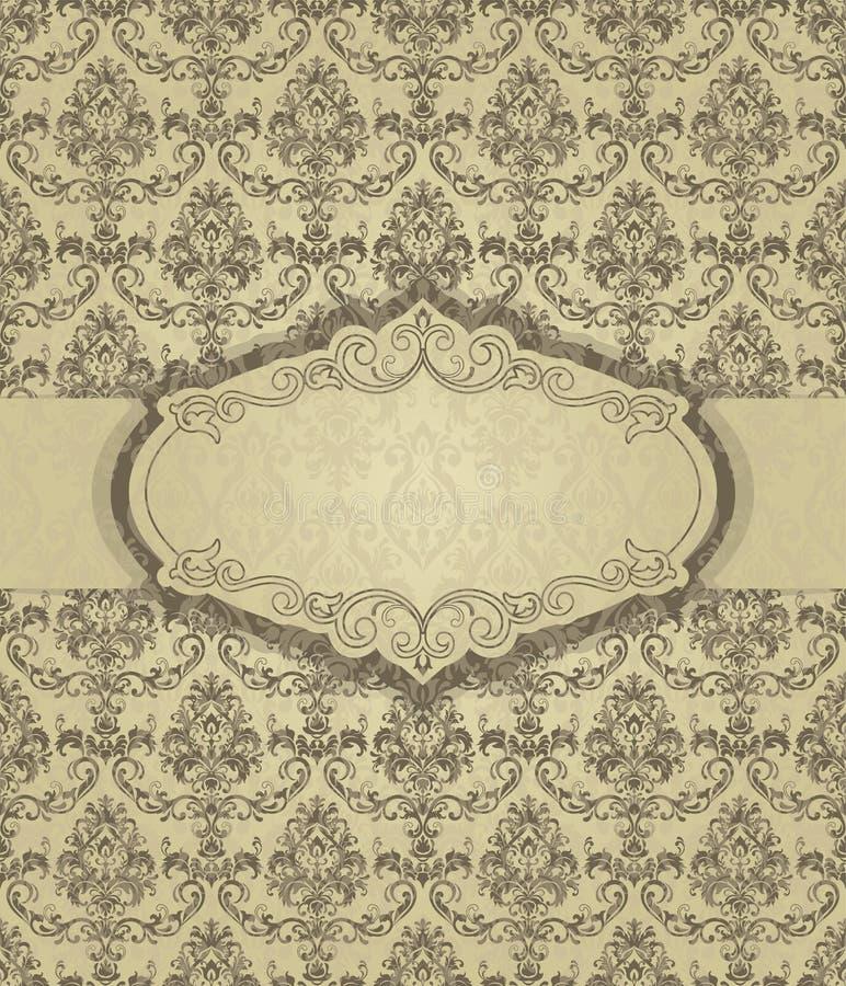 Guld- inbjudan med ramen Guld cards mallar f?r r?ddning datumet som gifta sig inviterar, h?lsningkort, vykort royaltyfri illustrationer
