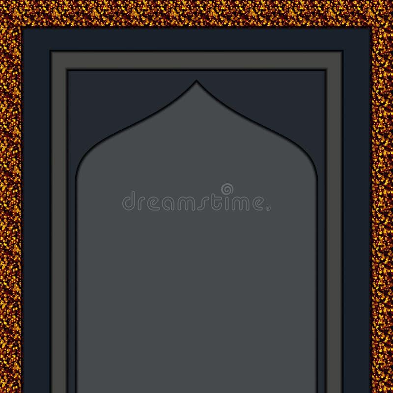 Guld- ingångsvektor för muslimsk moské royaltyfri illustrationer