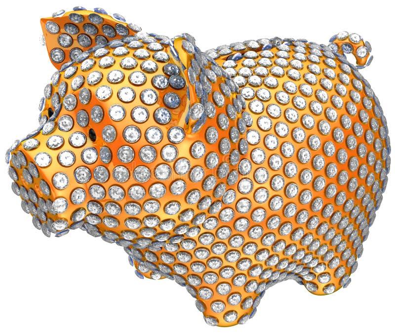 guld- inlagt piggy för gruppdiamanter royaltyfri illustrationer