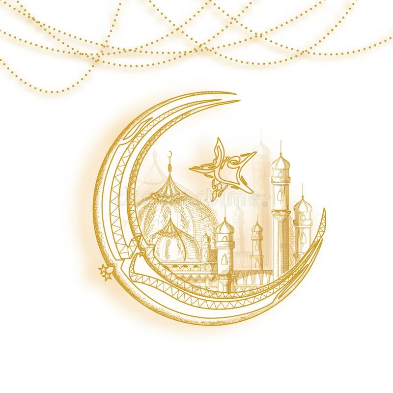 Guld- invecklad måne, mosquem och arabisk calligraphic text Eid vektor illustrationer