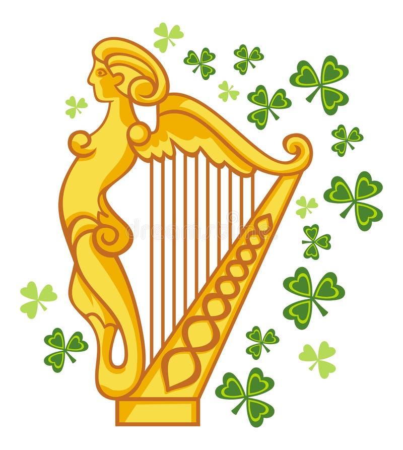 Guld- irländsk harpa royaltyfri illustrationer