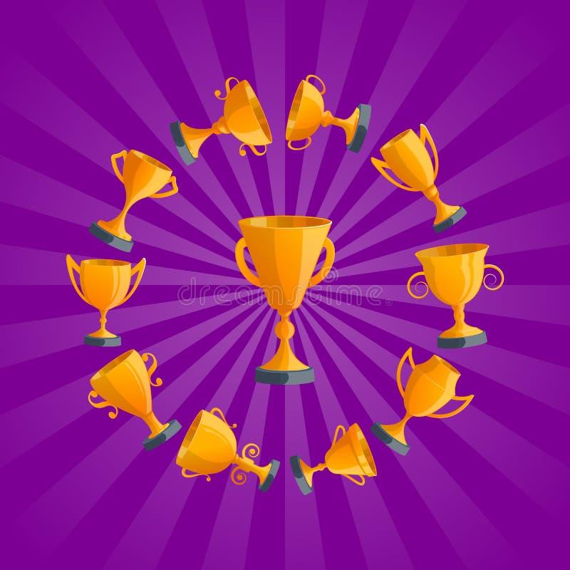 Guld- isolerad emblemuppsättning för vinnare koppar royaltyfri illustrationer