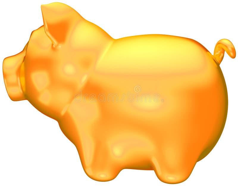 guld- isolerad piggy sidosikt för grupp stock illustrationer
