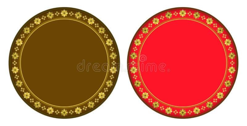 Guld- jasmincirkelram royaltyfri illustrationer