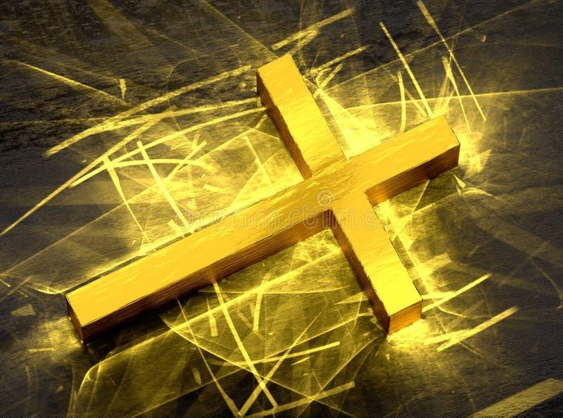 Guld- Jesus argt skina, med caustics tänder vektor illustrationer