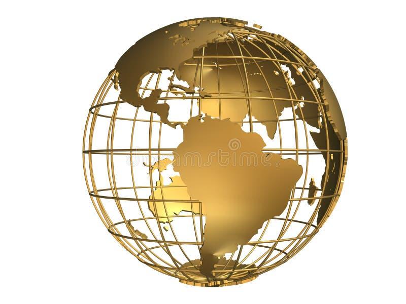 guld- jordklot vektor illustrationer