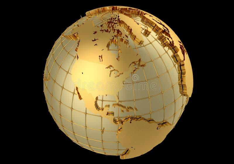 Guld- jordklot stock illustrationer