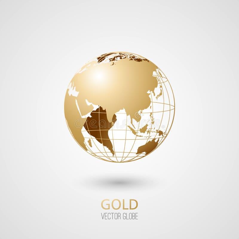guld- jordklot royaltyfri illustrationer