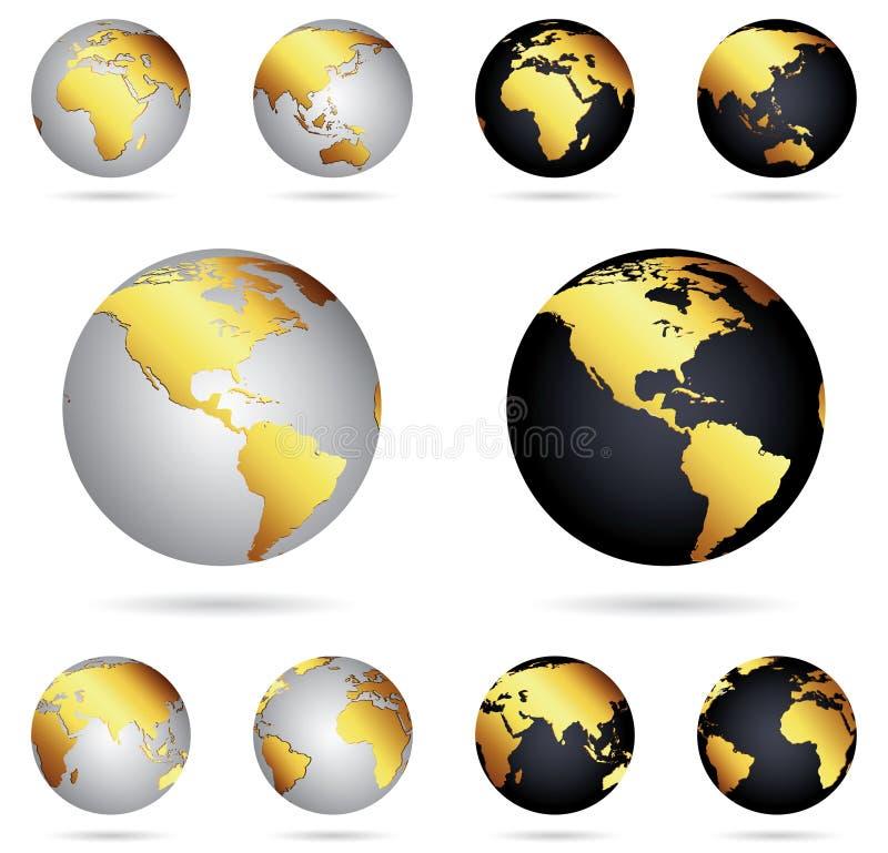 Guld- jordklot av planetjord vektor illustrationer