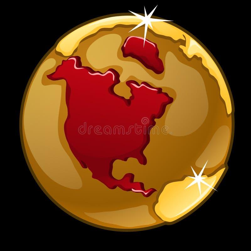 Guld- jordklot med tydligt av Nordamerika vektor illustrationer