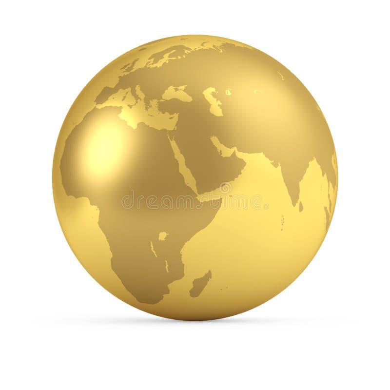 Guld- jordklotsidosikt royaltyfri illustrationer