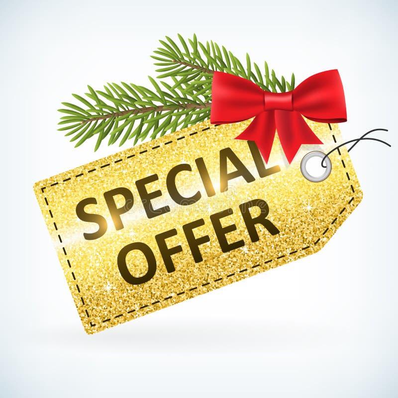 Guld- jul blänker för affärsförsäljningen för det speciala erbjudandet etiketten royaltyfri illustrationer