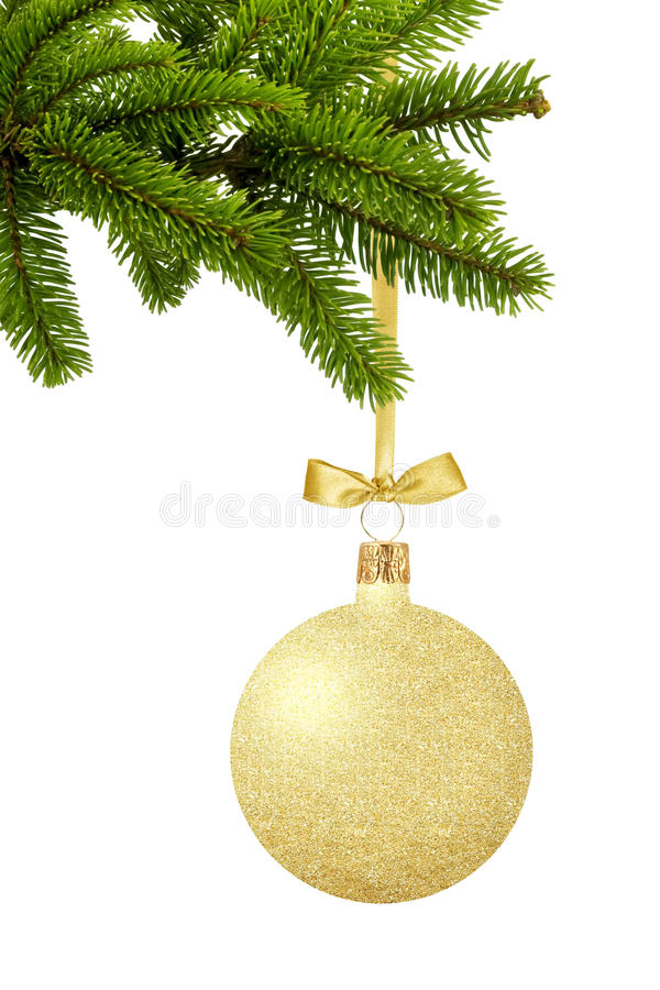 Guld- jul klumpa ihop sig med pilbågen på band på grön isolator för trädfilialen arkivbild