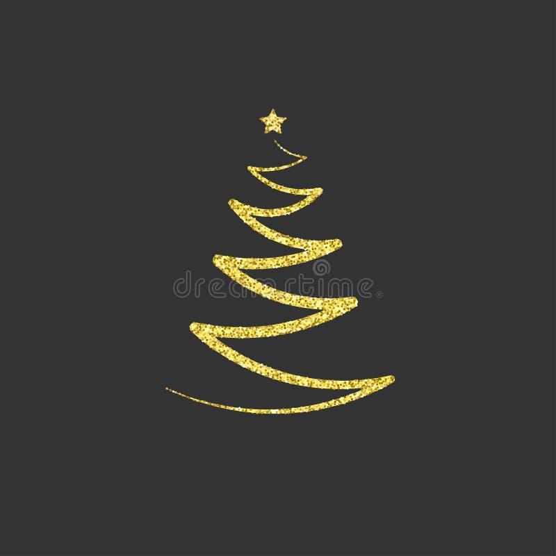 Guld- julgran med en stjärna blänka guld- symbol symbol, e royaltyfri illustrationer
