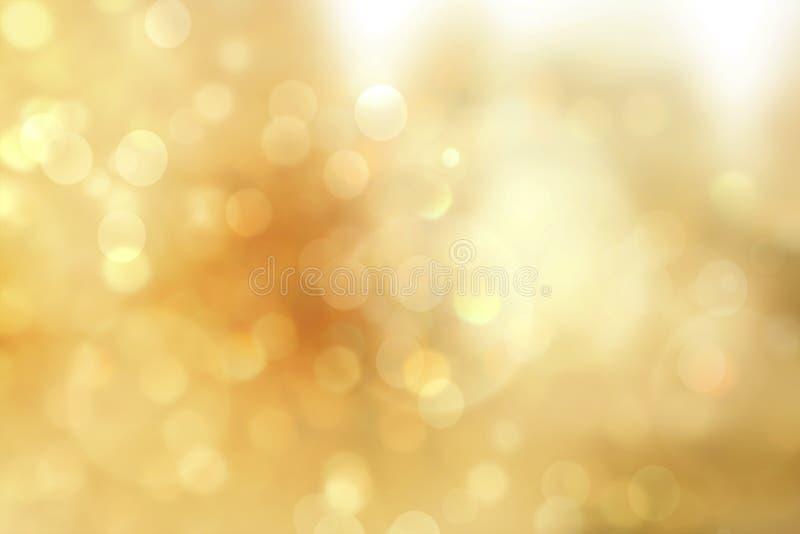 Guld- julljus Mjuk lyxig Bokeh för jul bakgrund fotografering för bildbyråer