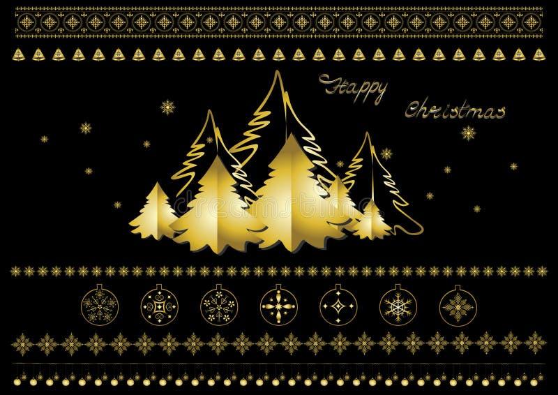 Guld- julsymboler, snöflingor, julgranar, gränser och hälsningar royaltyfri illustrationer
