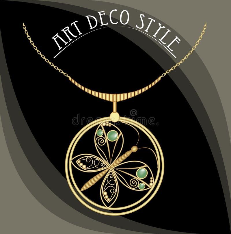 Guld- juvel med fjärilen, gröna ädelstenar Halsband i art décostil Cirkelhänge på guld- kedja för filigran royaltyfri illustrationer